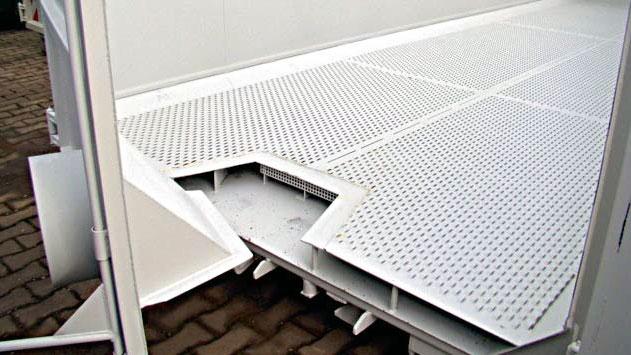 Lüftungsboden eines Hakenlift-Container für die Trocknung von Schüttgütern