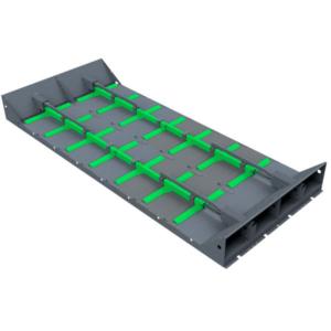 Modularer Schubboden als Austragungssystem zum Transport von Hackschnitzeln.