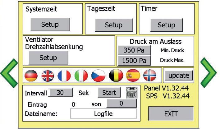 Bedienfeld einer Steuereinheit mit verschiedenen Länderflaggen und und Parametern
