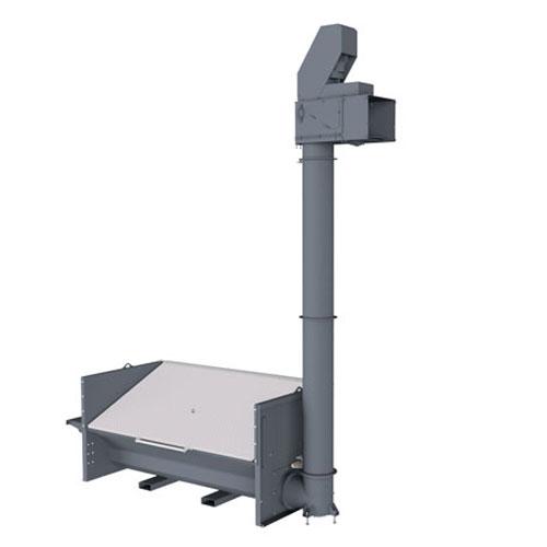 Senkrechtförderer für Hackschnitzel mit Einfülltrichter und Steigrohr
