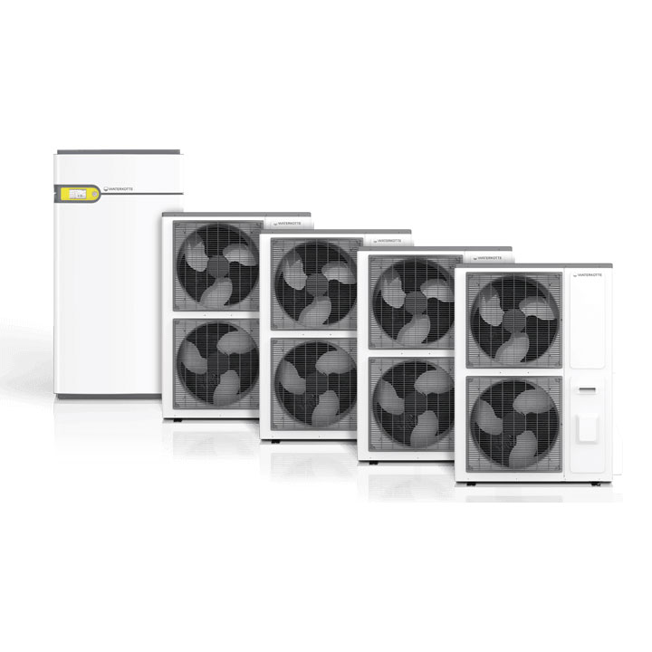 Wärmepumpe für Luftwärme mit Touch Bedieneinheit und Lüftungsmodulen