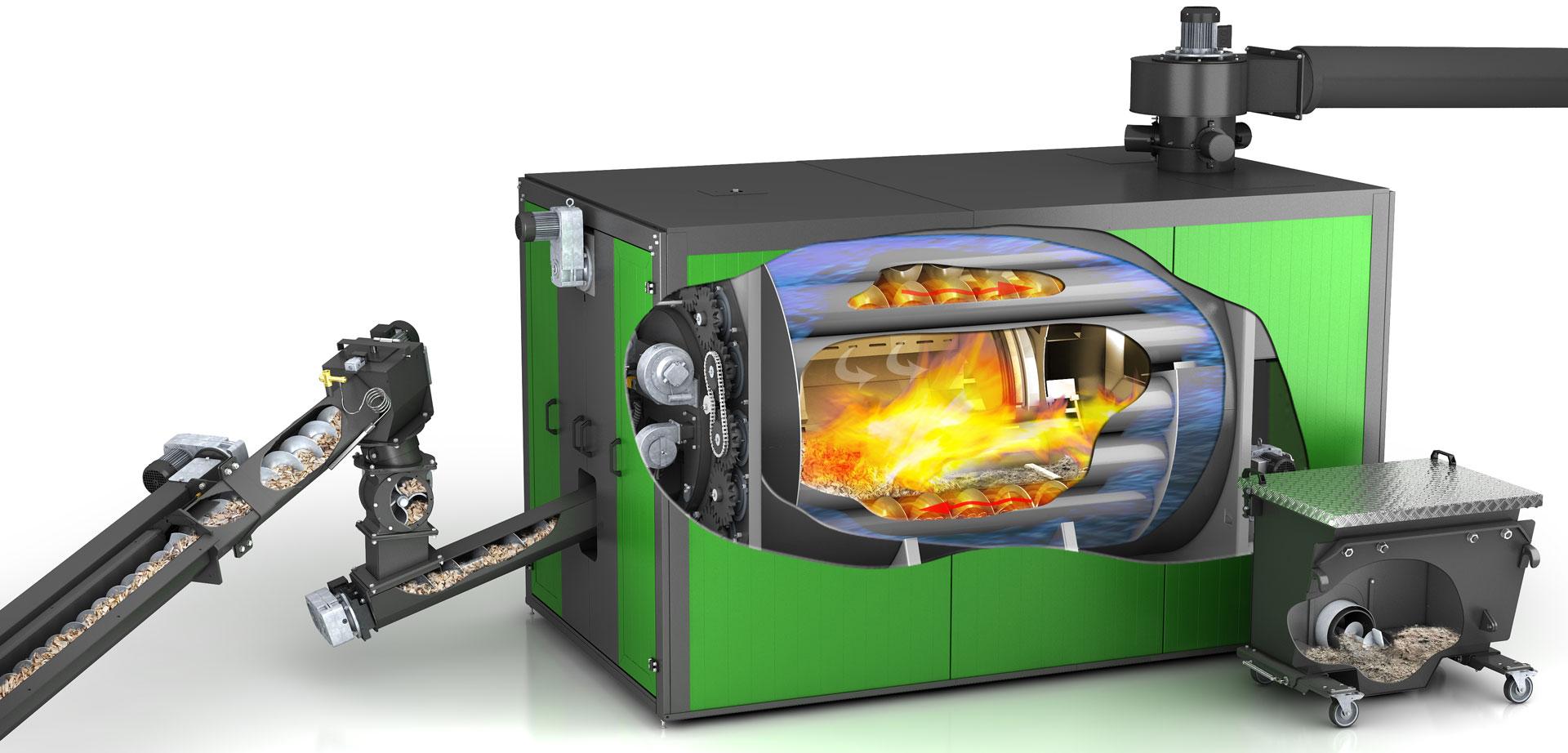 Technischer Aufbau einer Biomasseheizung von Heizomat