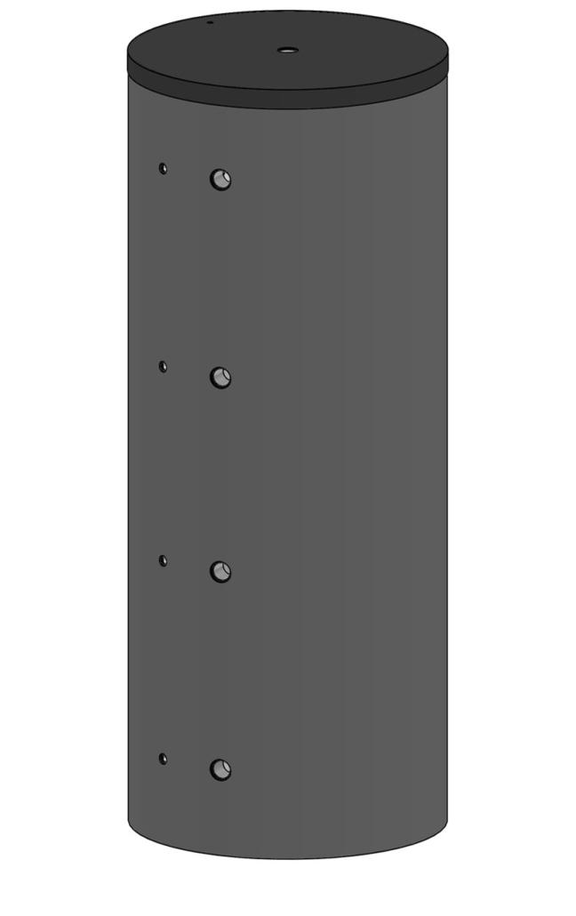 Pufferspeicher für Heizwasser mit grauer Isolierung