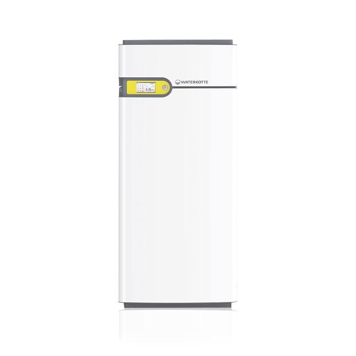 Weiße Wärmepumpe für Erdwärme mit gelber Touch Bedieneinheit